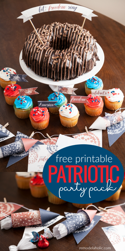 Add some Americana style to all of your barbecues and parties this summer with this easy free printable patriotic party pack, including invitations and decor. | 4th of July printables | summer party ideas | neighborhood parties | Independence Day | red white and blue