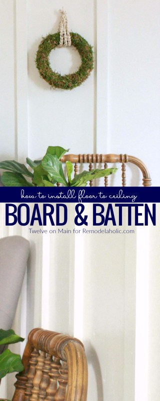 DIY floor to ceiling board and batten is an easy and budget-friendly wall treatment that gives interest and dimension to boring walls, perfect for white farmhouse walls or more colorful accent walls. Learn to install board and batten on your own with this step-by-step video tutorial.