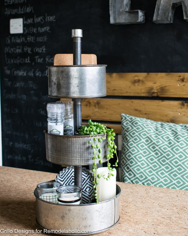 Learn to make your own DIY rotating metal tiered tray organizer using upcycled vintage baking tins. Great for organizing craft supplies and decorating. DIY tiered tray tutorial | vintage upcycle | repurpose