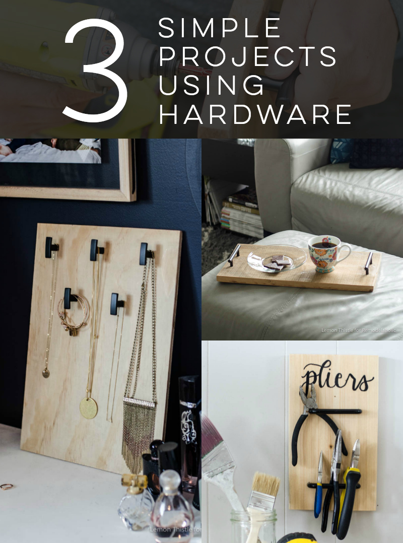 These 3 easy hardware projects give cabinet door hardware a whole new look! Use inexpensive options for budget-friendly organizing, or splurge and give a few pieces of high-end hardware a place to shine. Video tutorials for each project.