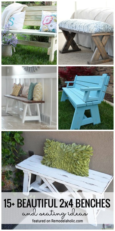 Remodelaholic 15 beautiful 2x4 benches and seating ideas build yourself a place to sit with one of these 15 beautiful 2x4 benches and solutioingenieria Image collections