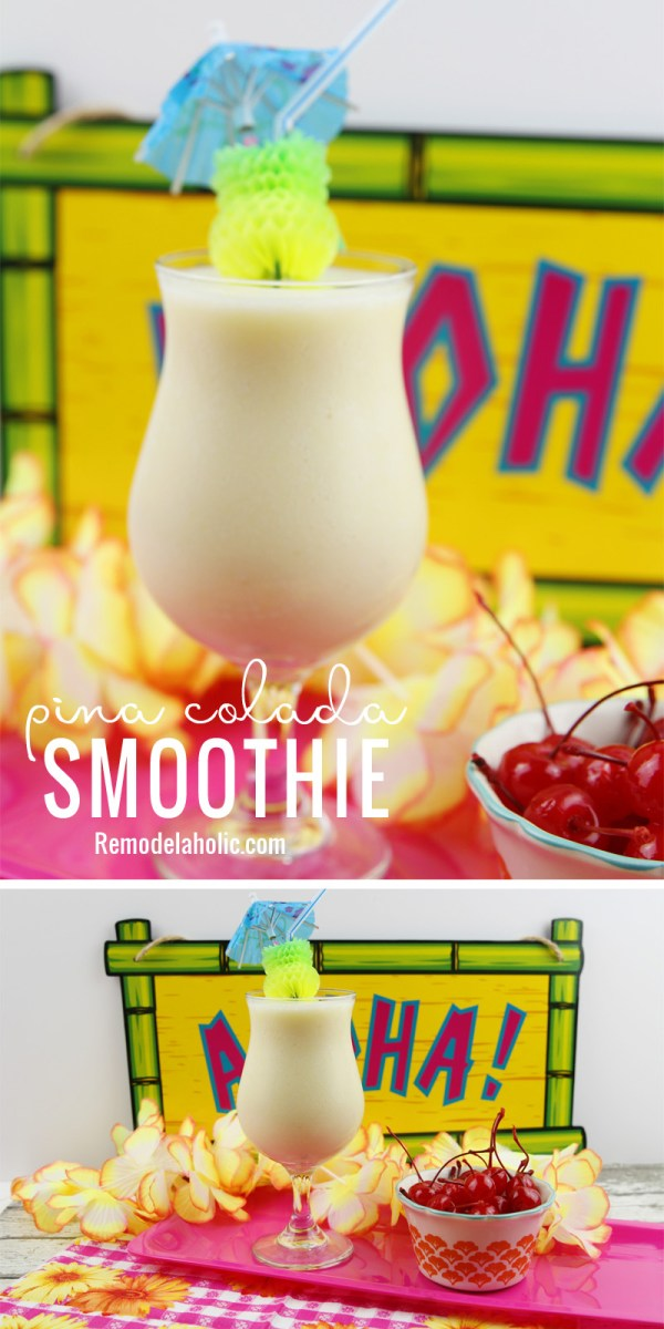 Cool off with a delicious smoothie. Try out this Mocktail Pina Colada Smoothie at Remodelaholic.com