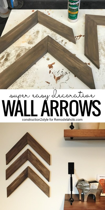 Super Easy DIY Wooden Arrow Wall Decorations | Full DIY tutorial from construction2style on Remodealaholic.com | scrap wood projects | beginner projects | wall decor | rustic reclaimed wood