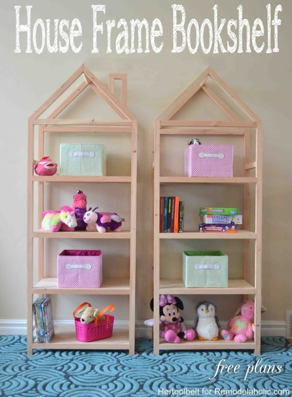 2x2 Projects, House Frame Bookshelf @Remodelaholic