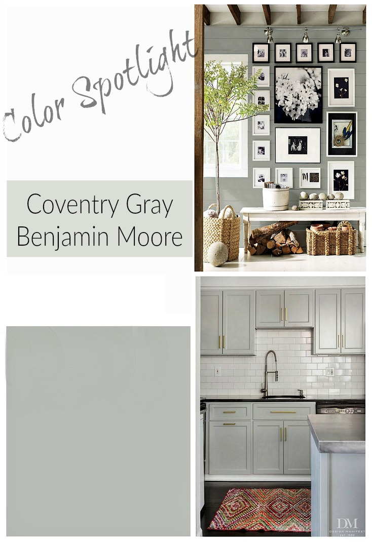 Benjamin Moore Coventry Gray. Color Spotlight On Remodelaholic.com | This is the perfect mid-tone gray paint color! Coventry Gray by Benjamin Moore is a beautiful neutral gray wall color or cabinet color that looks stunning in natural light, artificial light, or mixed lighting. See more inspiration in the post.