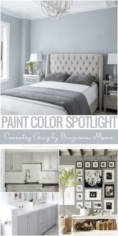 This is the perfect mid-tone gray paint color! Coventry Gray by Benjamin Moore is a beautiful neutral gray wall color or cabinet color that looks stunning in natural light, artificial light, or mixed lighting. See more inspiration in the post.
