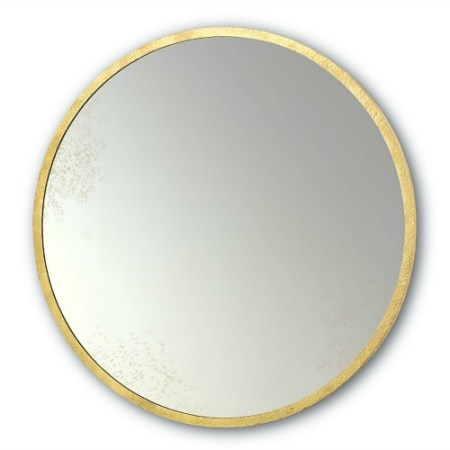 Brick Fireplace Facelift, Round Gold Mirror