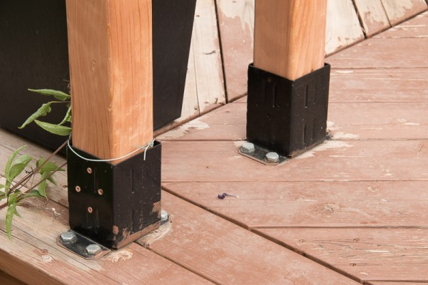 how to attach a wood garden arbor to a wood deck