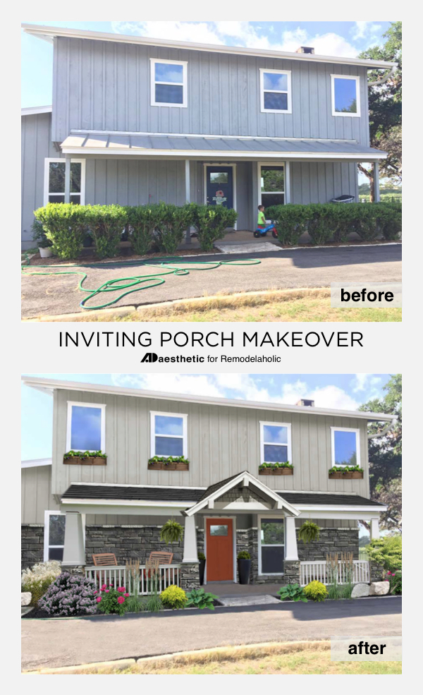 Inviting Porch Virtual Makeover | mid-century modern | curb appeal