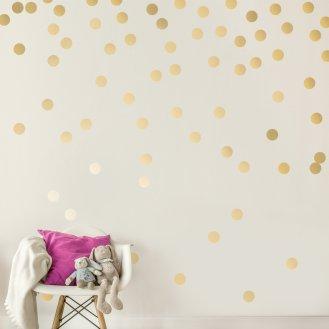 Blue Boys Playroom 09 Gold Polka Dot Wall Decals