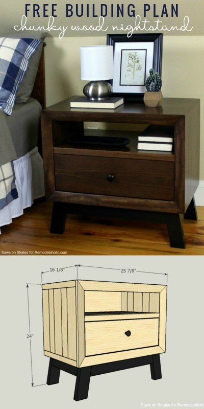 Learn to Build This Chunky Solid Wood Nightstand | Free Building Plan And Tutorial | Mid-Century Modern | Bedside Table | Bedroom Storage