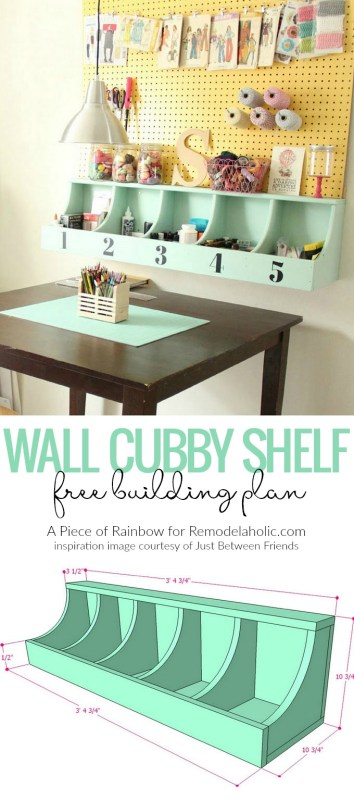 Diy Wall Cubby Shelf Free Building Plan @Remodelaholic