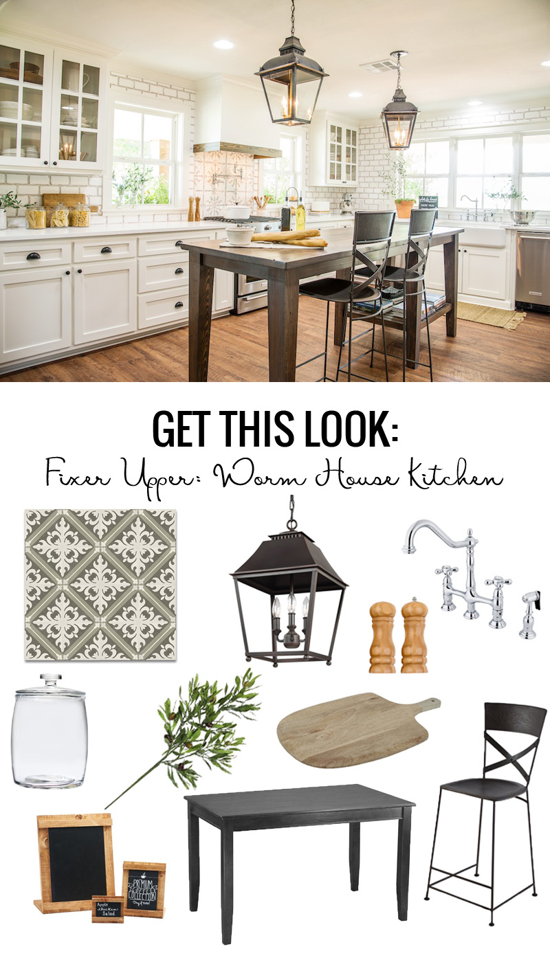 Fixer Upper Worm House Kitchen Get This Look featured on Remodelaholic.com