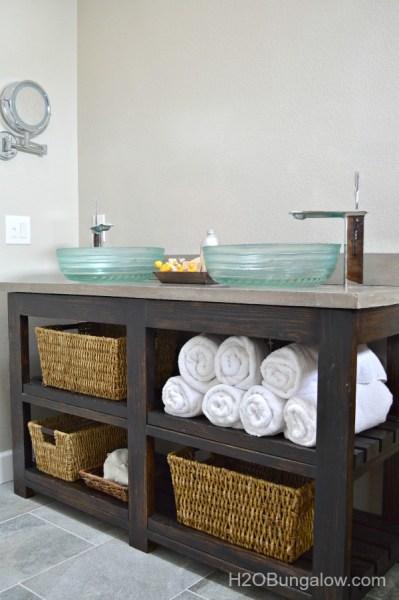 Open Shelf Vanity Free DIY Plans H2OBungalow