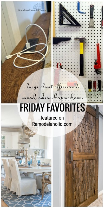 Sharing Inspiration This Week With A Large Closet Office And Wood Shim Barn Door For Friday Favorites Featured On Remodelaholic.com