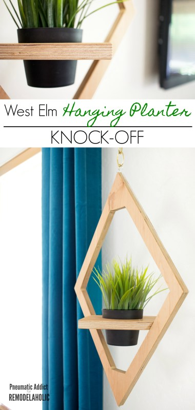 West Elm Modern Hanging Planter Knockoff | DIY tutorial and building plan