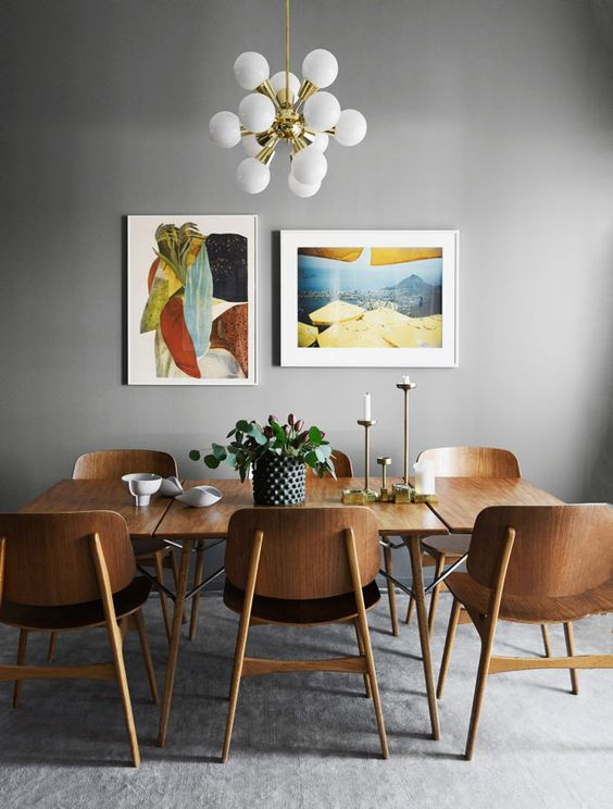 remodelaholic dining in style neutral mid century modern dining room decor. Black Bedroom Furniture Sets. Home Design Ideas
