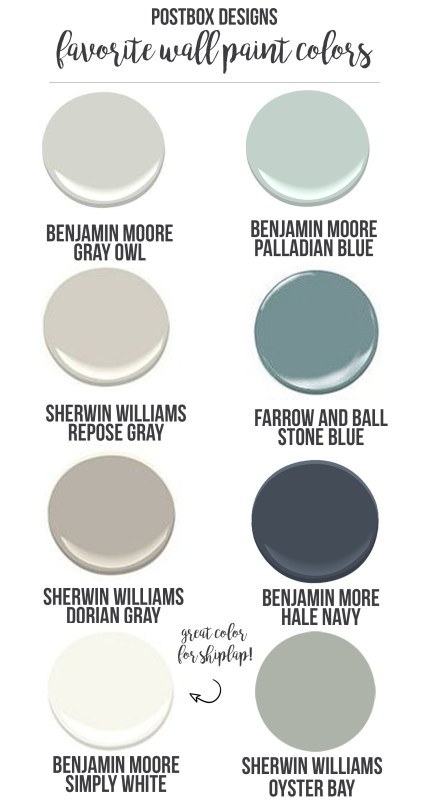 Best Farmhouse Wall Paint Colors   shiplap   Fixer Upper style   paint palette
