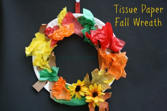 Tissue Paper Fall Wreath happy hooligans