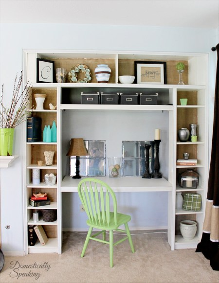 4 Built In Desk Nook From Ikea Bookshelf By Domestically Speaking Featured On @Remodelaholic