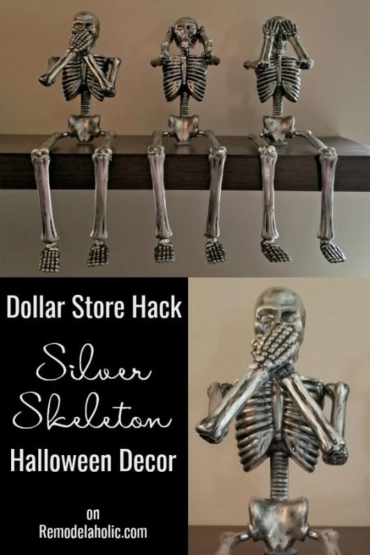 DIY Silver Skeleton Halloween Decor