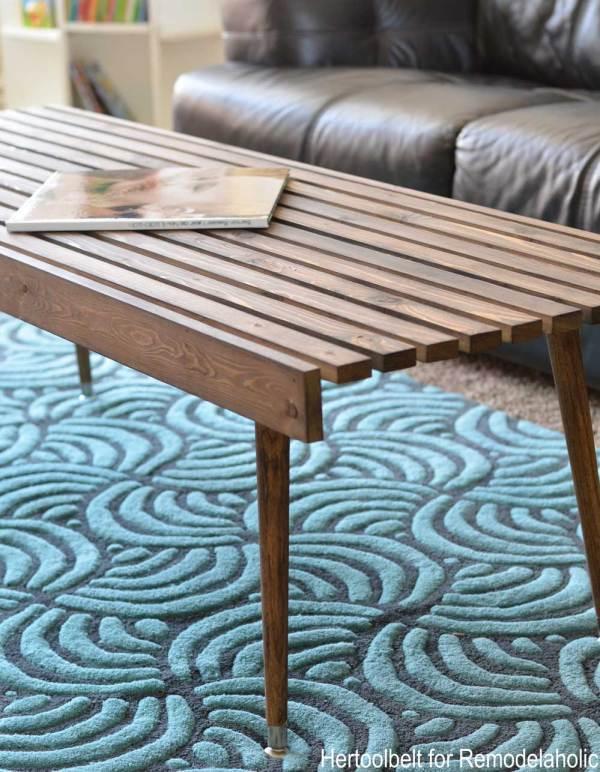 DIY Modern Coffee Table Side Close Up