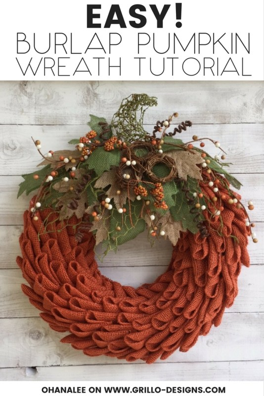 Fall Burlap Pumpkin Wreath DIY Tutorial 2F Grillo Designs