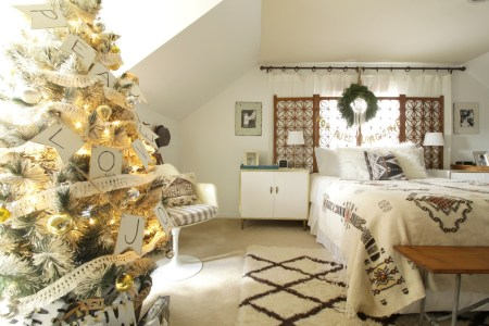 Vintage Modern Neutral Bedroom Christmas