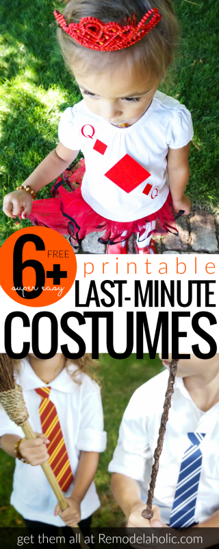 Free Printable Last Minute Costume Ideas for Halloween