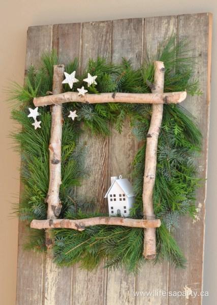 Rustic Birch Christmas Wreath 2
