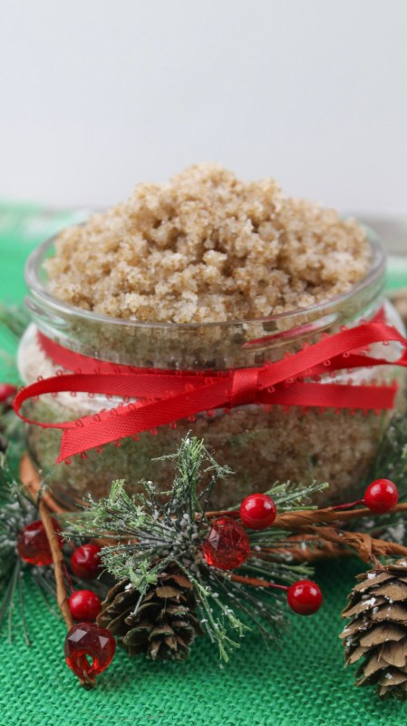 A Fun And Festive DIY Gift Idea And Recipe For Natural Gingerbread Sugar Scrub Via Remodelaholic.com