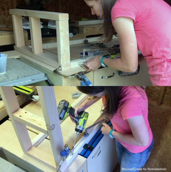 DIY Modern Rustic Console Table, Attaching The Aprons With Pocket Hole Screws, MyLove2Create
