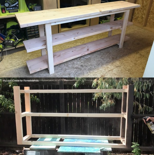DIY Modern Rustic Console Table, Dry Fit And Spray Painting Base, MyLove2Create