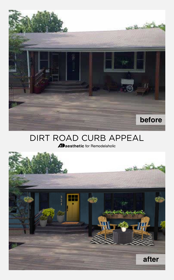 Curb Appeal for a Dark Home Exterior | Create beautiful, modern curb appeal for a dark home exterior with these tips. Great for situations where crisp white or bright colors aren't practical, such as country living down a dirt road.