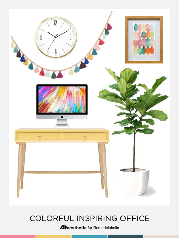 Create a chic and colorful home office with these decorating tips, inspiration, and furniture and decor selections.