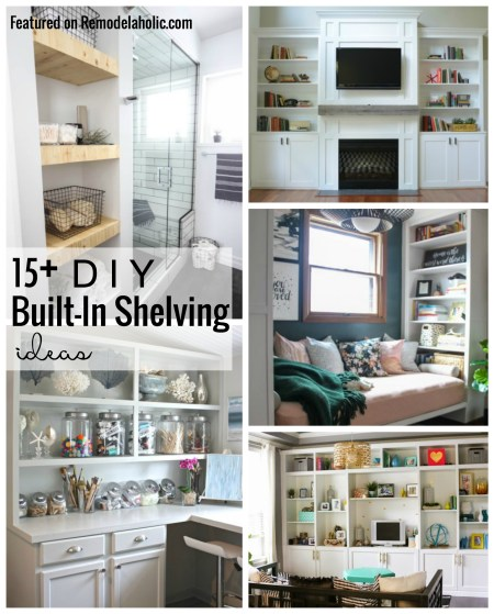 Get the built-in looks of your dreams on a budget with these 15+ DIY Built-In Shelving Ideas featured on Remodelaholic.com
