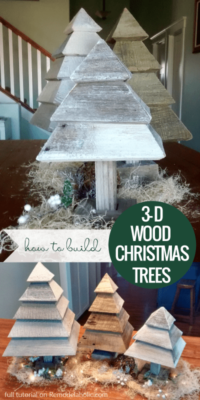 Build a set of rustic 3D wood trees for Christmas and winter decorating, using a couple of old reclaimed wood fence boards and your miter saw.