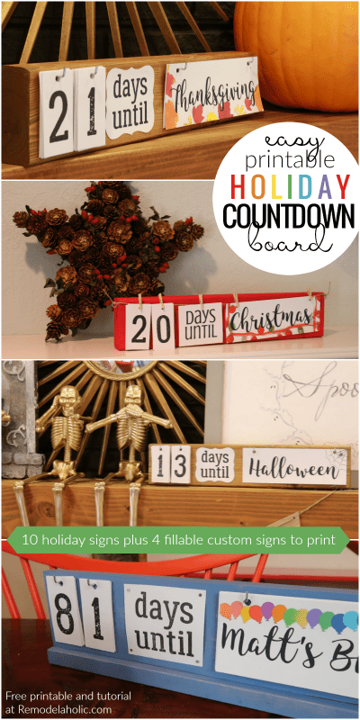 Easy DIY Holiday Countdown Boards With Printable Holiday Signs | Make this easy DIY holiday countdown board in under an hour, thanks to the free printable holiday sign set, which includes Christmas, Thanksgiving, New Years, Valentine's Day, and more. | Set of 10 printable holiday signs plus 4 fillable custom holiday signs | Gift idea for teachers, friends, and neighbors | Project idea for craft night, church groups, Young Women, Relief Society, Super Saturday, girls camp, and more.