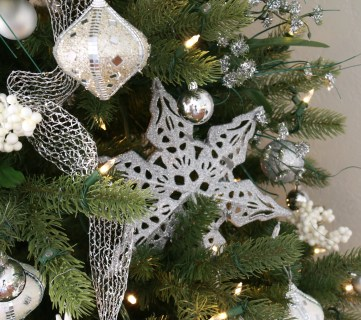 White And Silver Dollar Store Christmas Tree @Remodelaholic