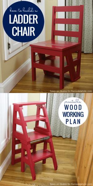 Ladder Chair Plan, Printable Woodworking Plan #remodelaholic