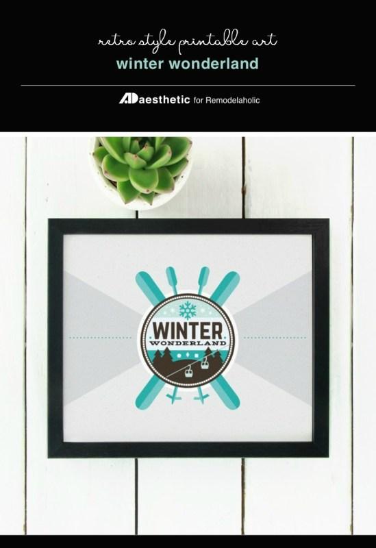 Winter Printable Retro Wall Art, Winter Wonderland Ski Resort Graphic, AD Aesthetic For Remodelaholic
