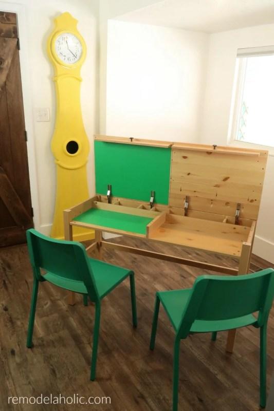 2 Person Kids Desk With Hidden Storage Compartment And Workstation, Hack IKEA HEMNES Desk #remodelaholic