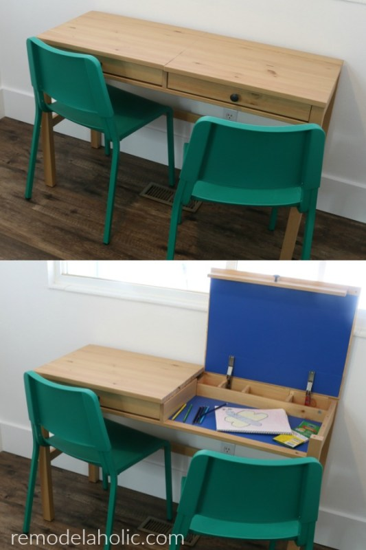 IKEA Hack Desk With 2 Hidden Compartments For Storage And Workspace For Kids #remodelaholic