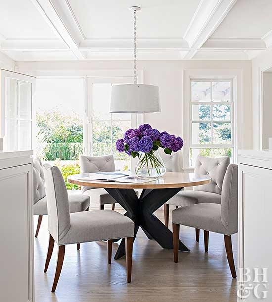 Neutral Dining Room With Purple Hydrangeas Via BHG