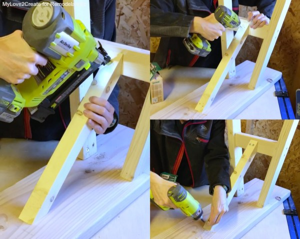 Adding Leg Supports, Easy DIY Bench, MyLove2Create