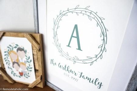 Custom Printable Farmhouse Monogram Wreath Print Set (10)