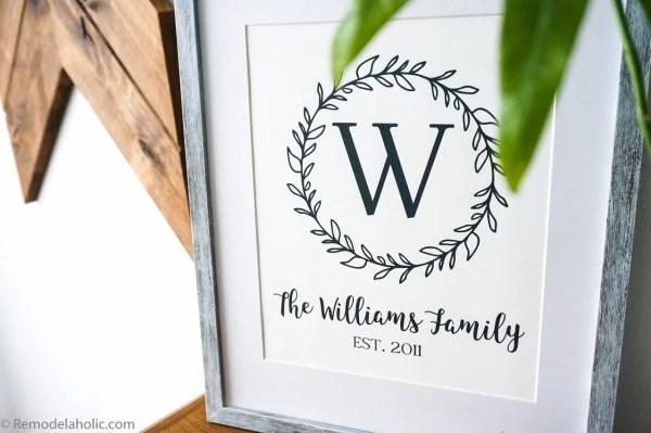 Custom Printable Farmhouse Monogram Wreath Print Set (5)
