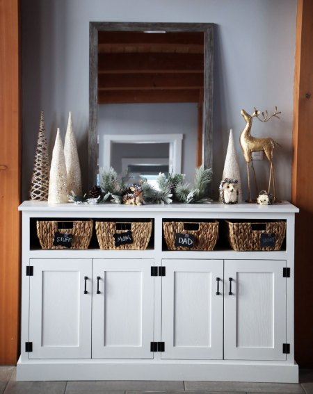 Entryway Console Diy Open Cubby Bin 3