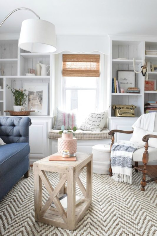 Free Building Plan: Planked X Farmhouse Side Table | Beautiful living room + photo, courtesy of Nesting With Grace