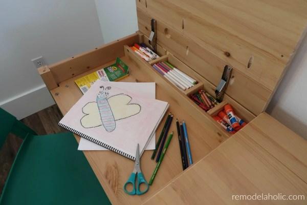 Hidden Compartment Kids Desk Space With Storage Inside A Wood IKEA HEMNES Desk Hack #remodelaholic